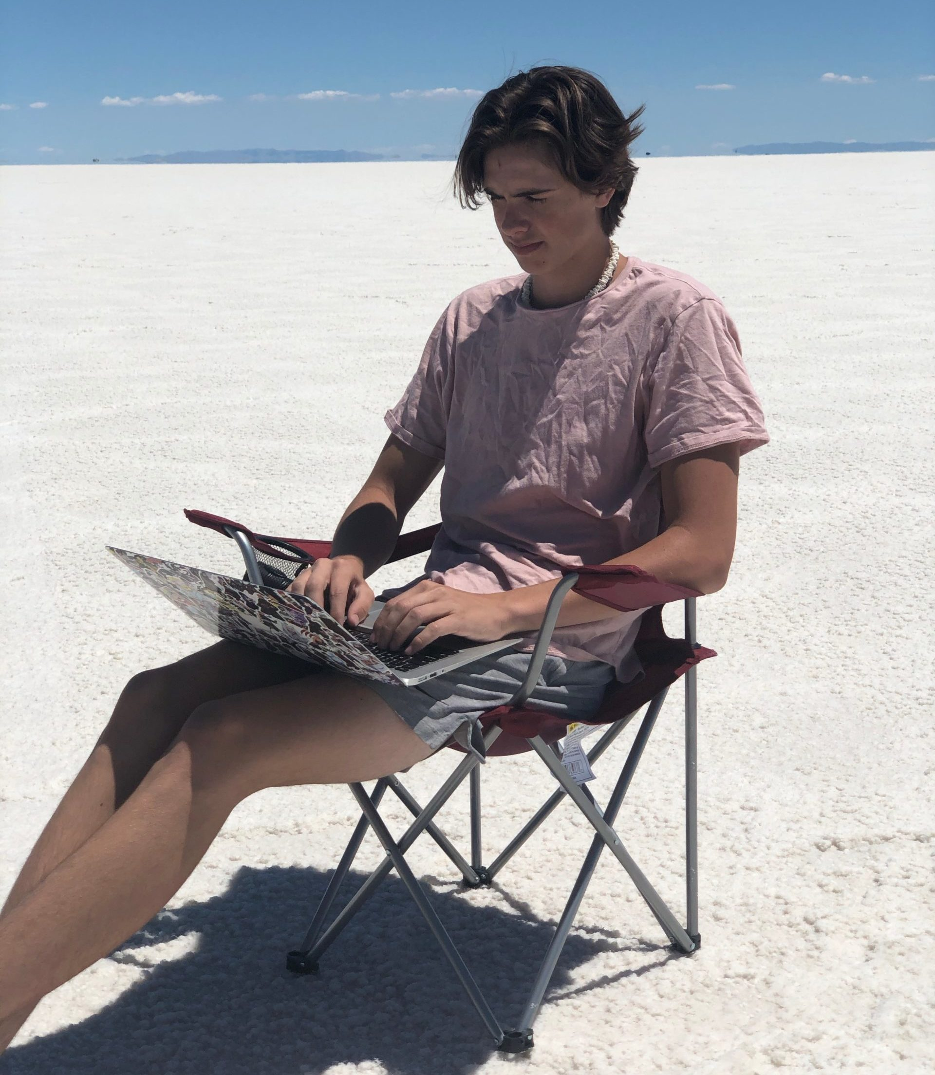 working on the beach