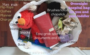 Inside the bag for an overnight hospital stay for #baby and #mom #aisforaldelaide #hospitalstay #overnightbag