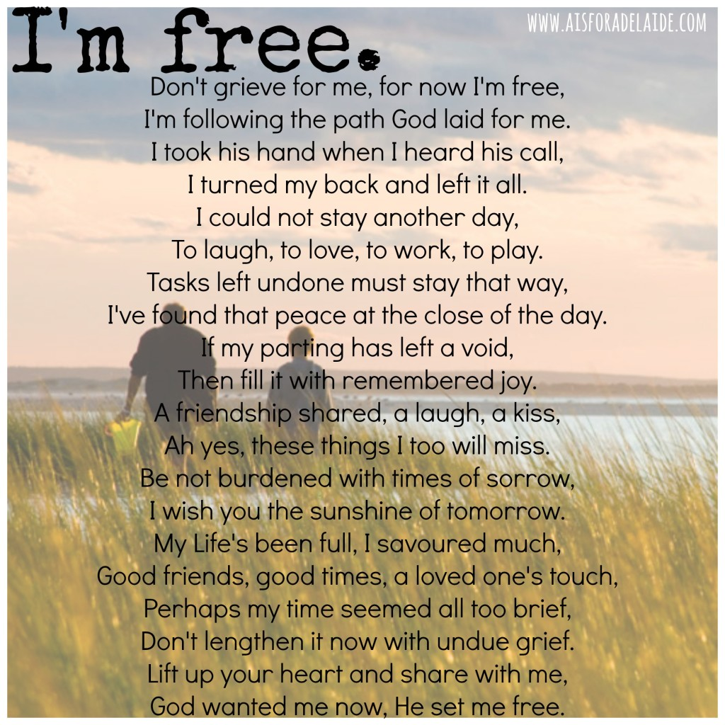 I'm Free #poem #loss #parenthood #52WeeksA4A Blog Challenge