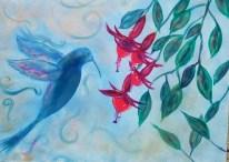 Hummingbird Four FuchSias Encapsulate