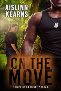 Book cover for On The Move, featuring buff military man and woman in the jungle