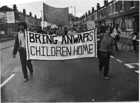 Manchester AYM supporting Anwar Ditta's campaign to bring her children to Britain. The AYMs actively protested immigration controls, which they believed were used to attack the rights of Asian and Black people to live in Britain. Courtesy Tandana Archive