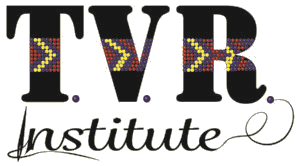 The lgo for TVR Institute. Black text with a beaded chevron print overlaid across the middle.