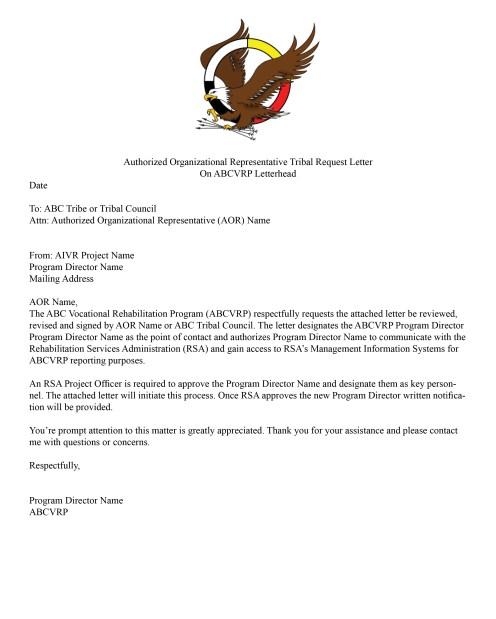 Authorized Organizational Representative Tribal Request Letter