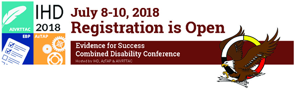 The AIVRTTAC conference banner has the conference logo to the left which depicts four quadrants that showcase AIVRTTAC, AzTAP, and IHD. The banner states that Registration is Open, Evidence for Success, and the date of July 8th - 10th.