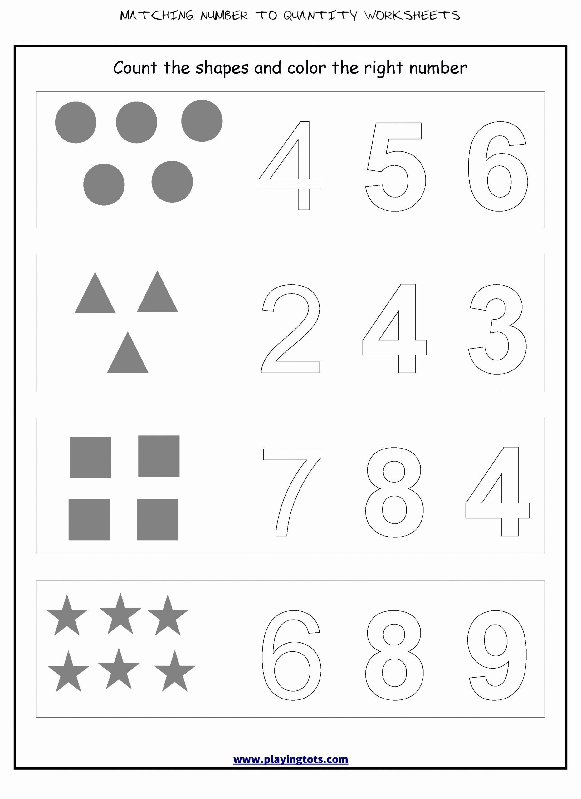 Matching Numbers Worksheets For Preschoolers