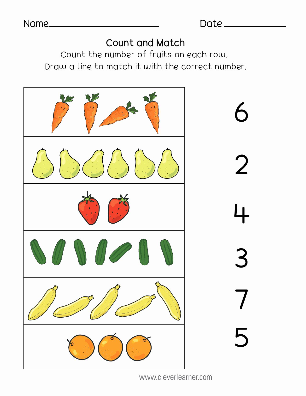 Number Matching Worksheets For Preschoolers