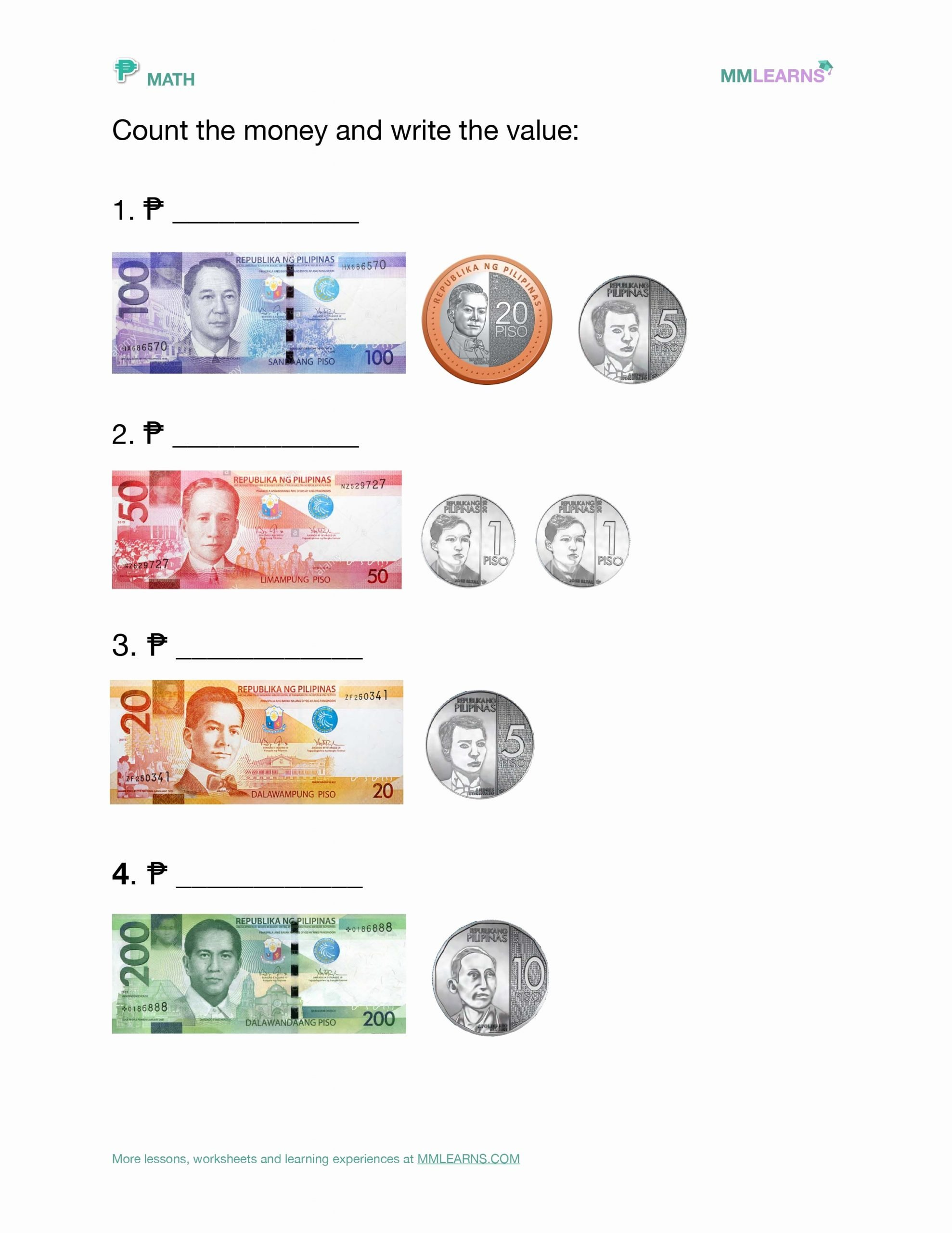 Philippine Money Worksheets For Preschoolers