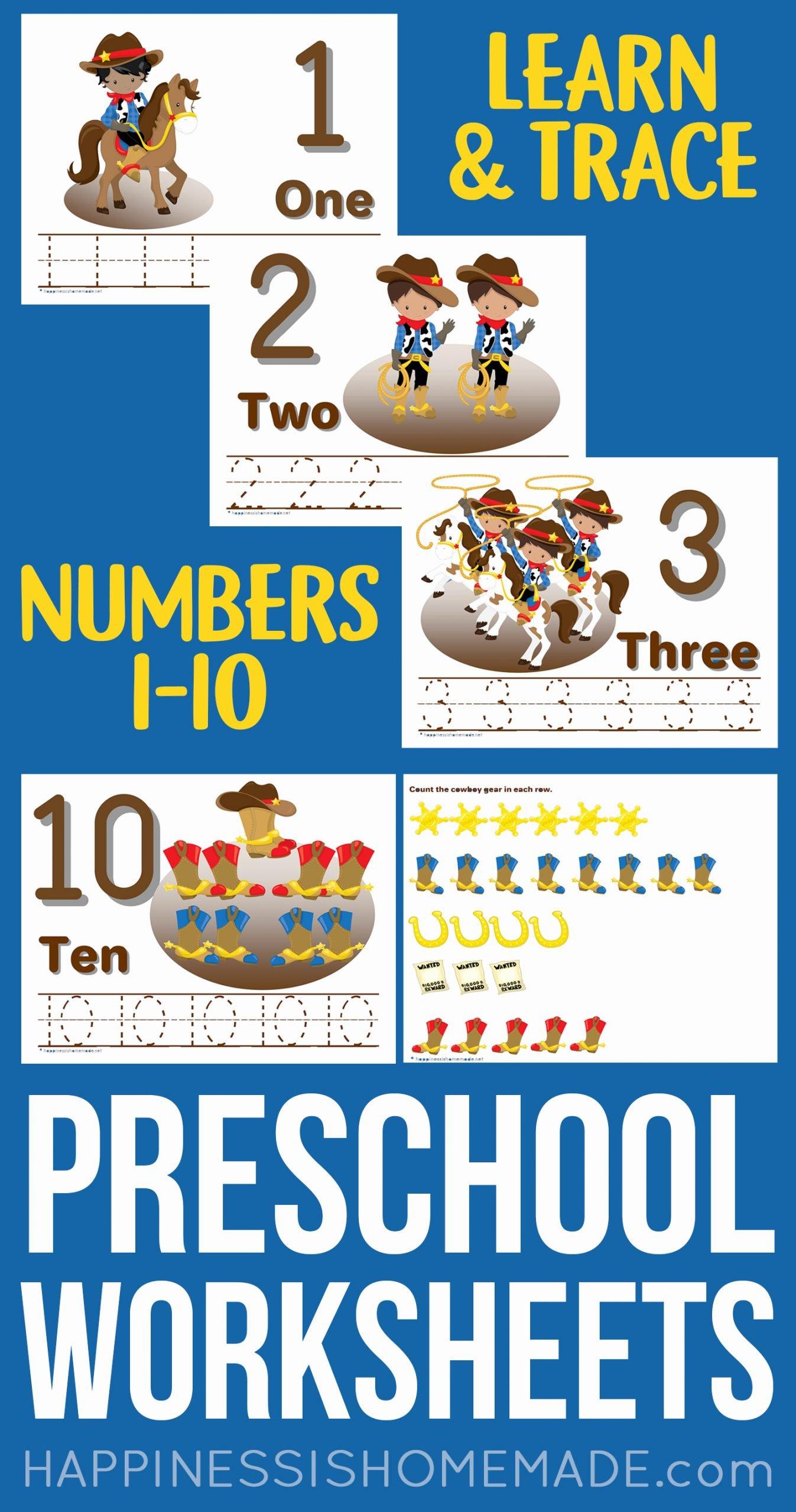 Printable Worksheets For Preschoolers Numbers