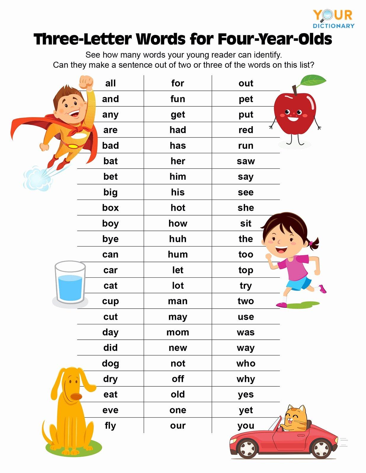 Three Letter Words Worksheets For Preschoolers