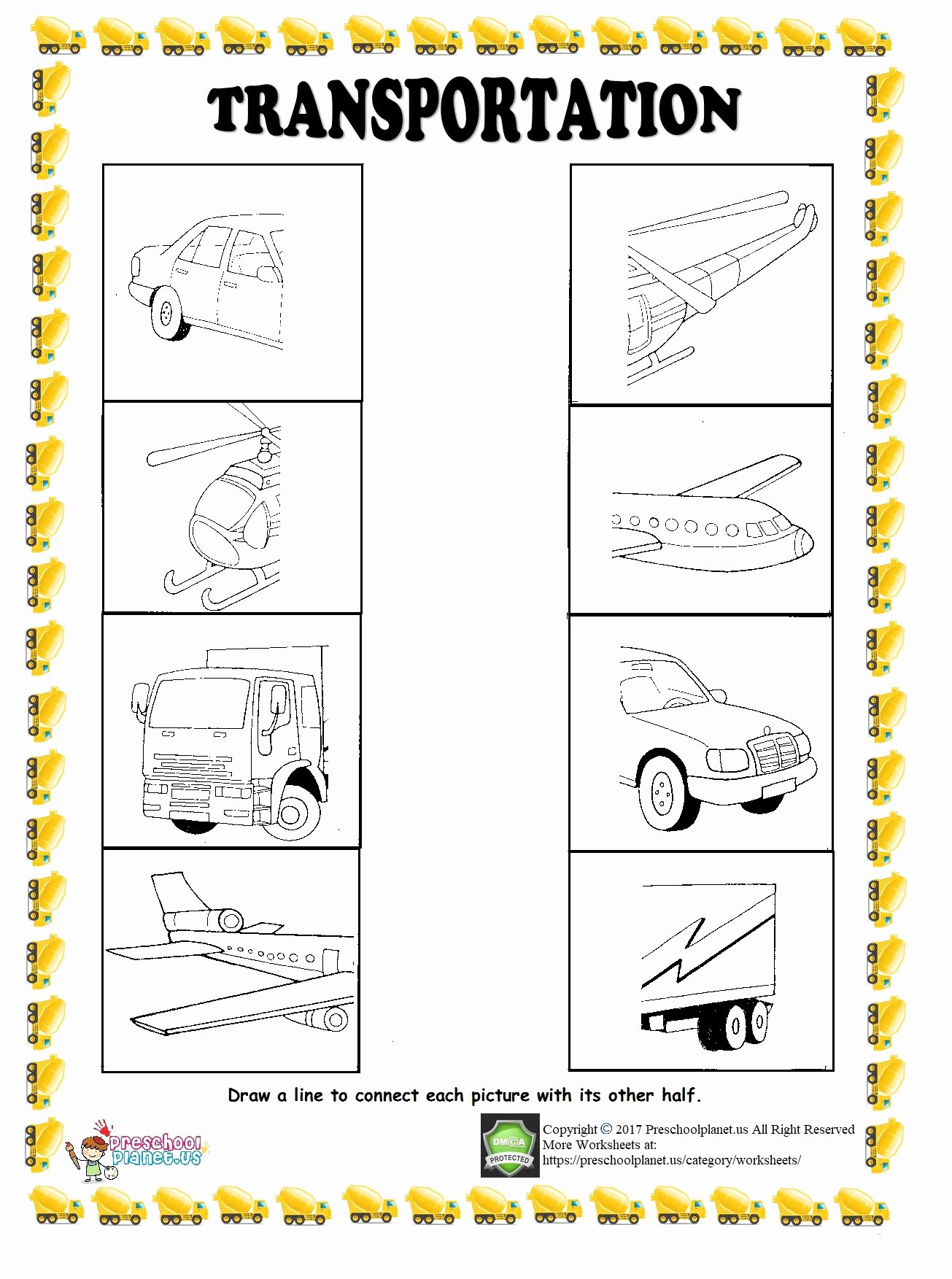 Transportation Worksheets For Preschoolers