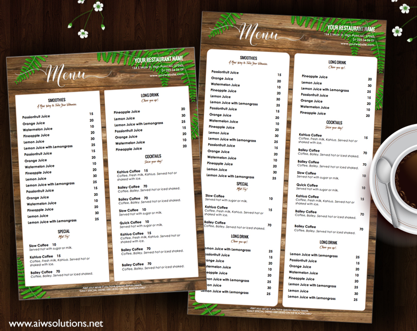 Design Templates Menu Templates Wedding Menu Food Menu Bar Menu Template Bar Menu