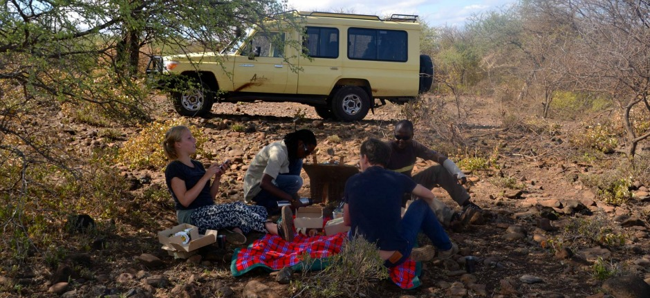 Picnic lunch on safari with Ajabu Adventures