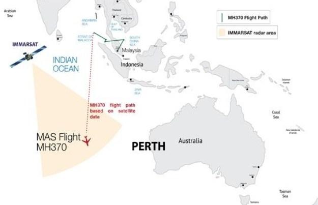 Data satelit Immarsat mengkonfirmasikan titik terakhir kontak dengan MH 370
