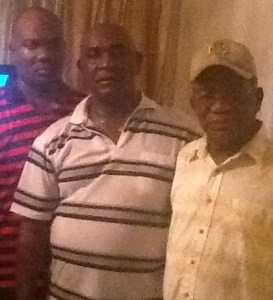 From Left Principal Garfield Rowe, Colonel Ferron Williams and Mr. Rowe (Uncle to young Mr. Rowe)