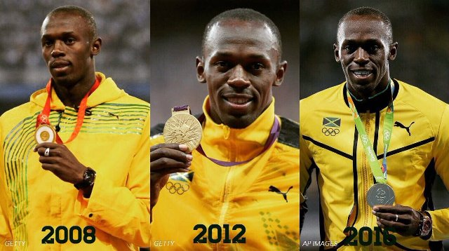 Usain Bolt thee gold medals in 100m sprint competation.