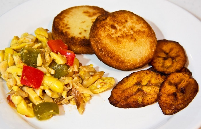 ackee and saltfish with fried bammies and plantains