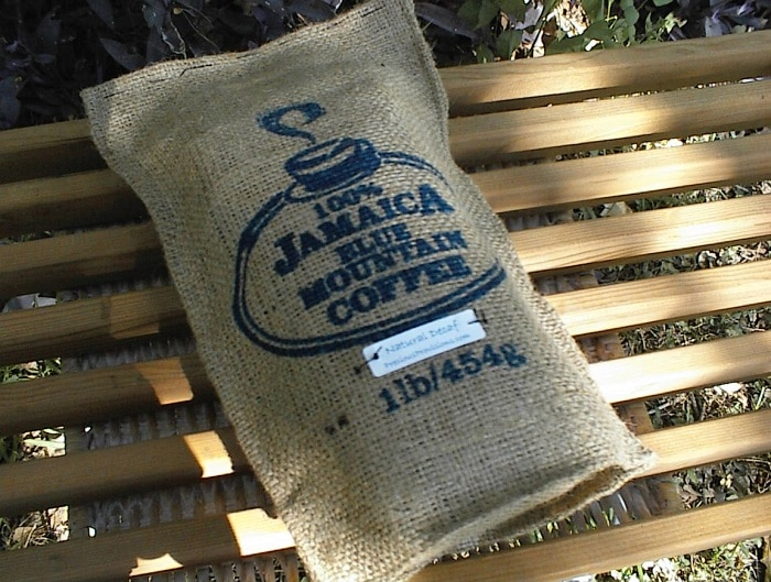 bag of jamaican blue mountain coffee beans