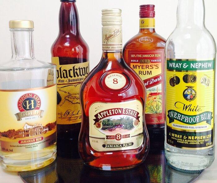 bottles of Jamaican traditional rum