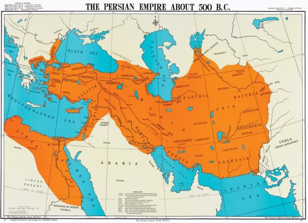 Map of the Persian Empire at its height, about 100 years after the conquest of Babylon.