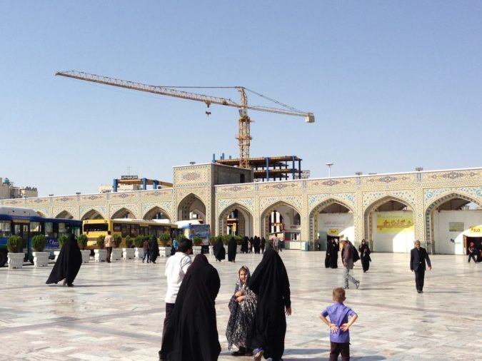Cranes dominate the skyline around the complex as new accommodations are built for the increasing number of pilgrims.