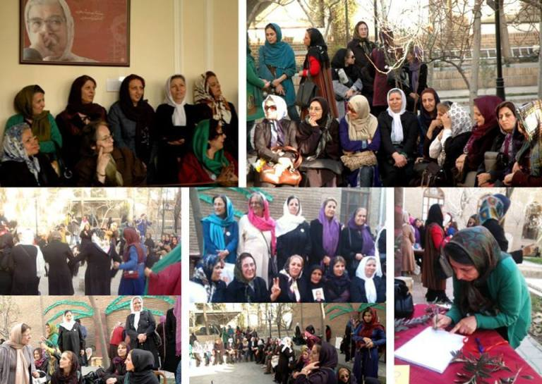 A collage of pictures of a gathering of Iranian women's activists, celebrating the 2014 International Women's Day in Tehran.