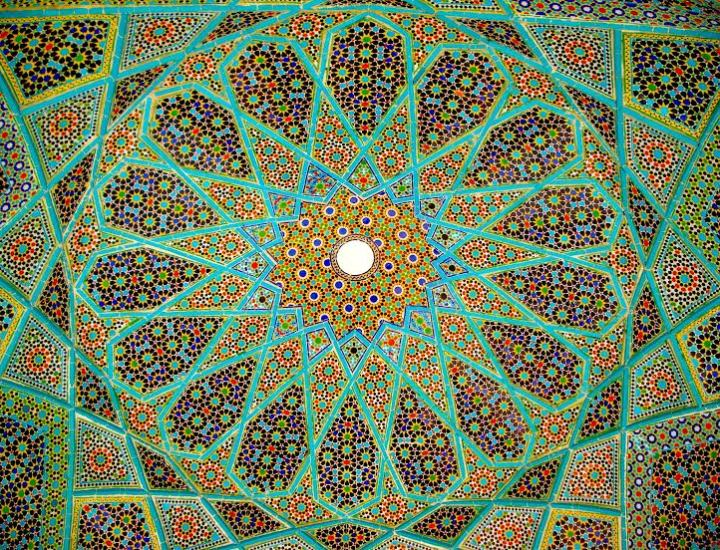 Tilework underneath the dome of the Hafeziyieh (Photo Credit: Aria Fani).