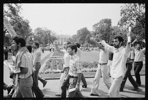 Middle Eastern students march in Lafayette Park, Washington D.C., 1980 (Warren K. Leffler / Library of Congress)
