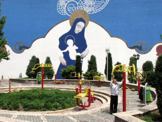 A mural in a Downtown Tehran park depicts the Virgin Mary. (Photo: Alireza Doostdar)