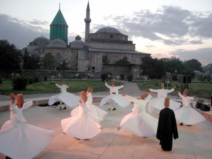 Dervishes at the tomb of Rumi in Konya in central Turkey.