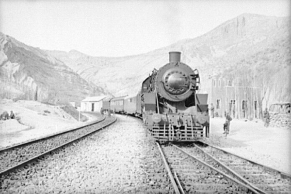 A train carrying Lend-Lease supplies to Russia pauses at a station in the Iranian mountains. Photo: Library of Congress