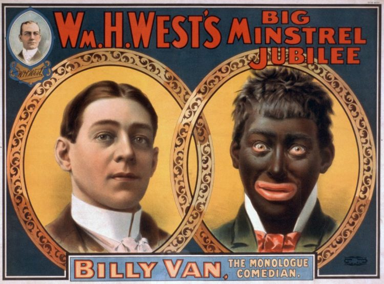 "Reproduction of a 1900 minstrel show poster showing the blackface transformation from white to ""black"". (Source: United States Library of Congress)"