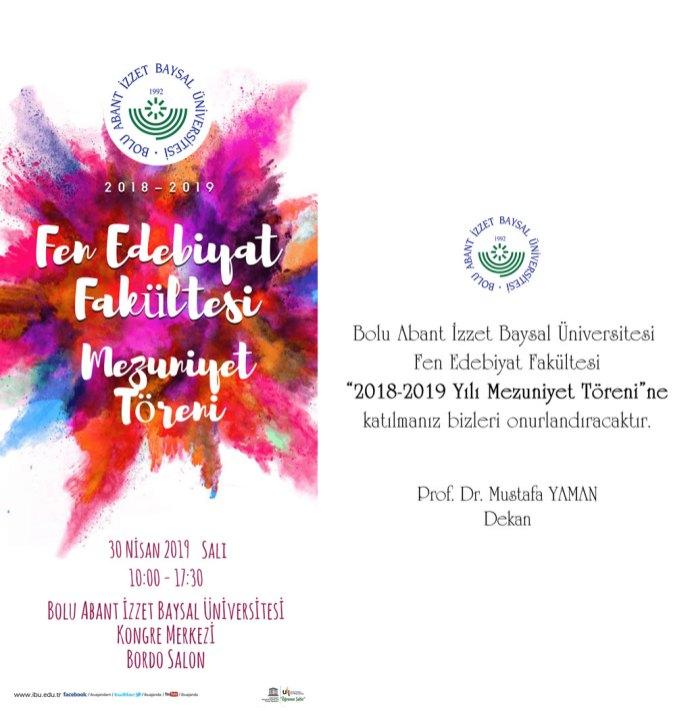 fef 3 - BAİBÜ 2018-2019 Fen Edebiyat Fakültesi Mezuniyet Töreni