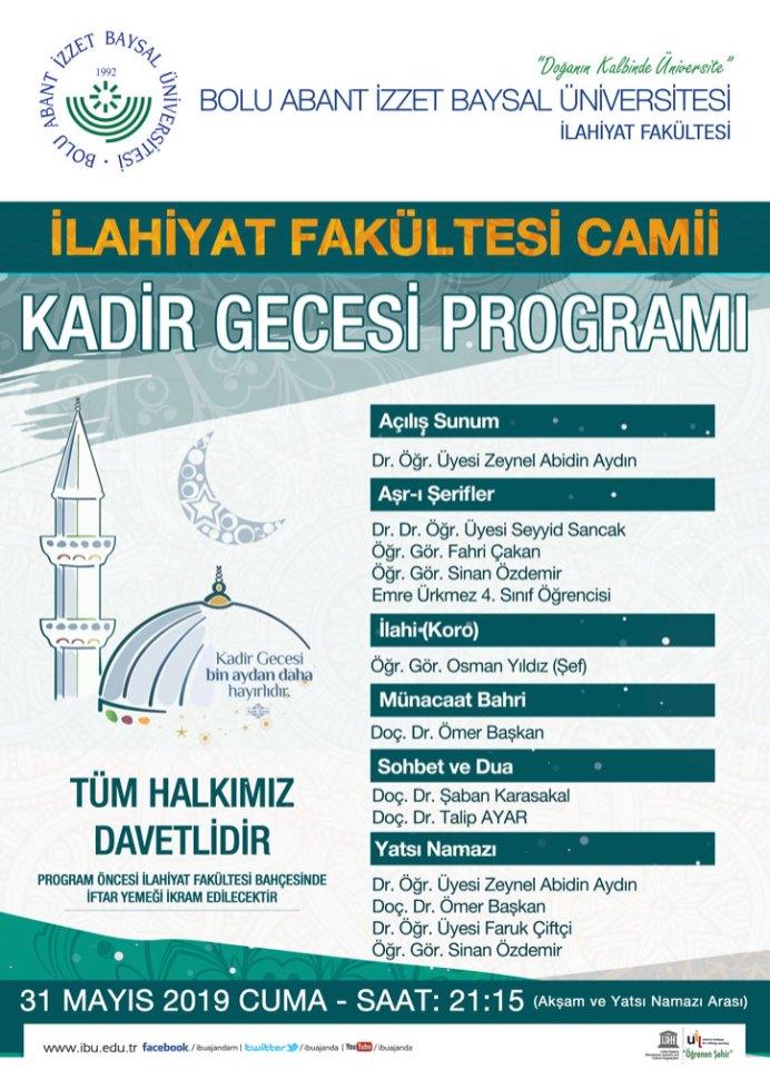 Kadir gecesi afiş - BAİBÜ İlahiyat Fakültesi / Kadir Gecesi Programı