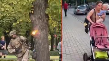 Letonya'da sokak ortasında yapılan tatbikat büyük tepki çekti!
