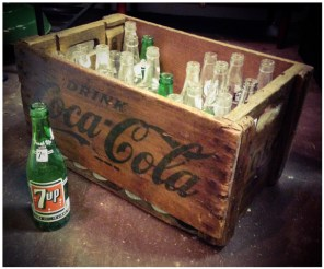 Coca Cola Crate & Soda Bottles