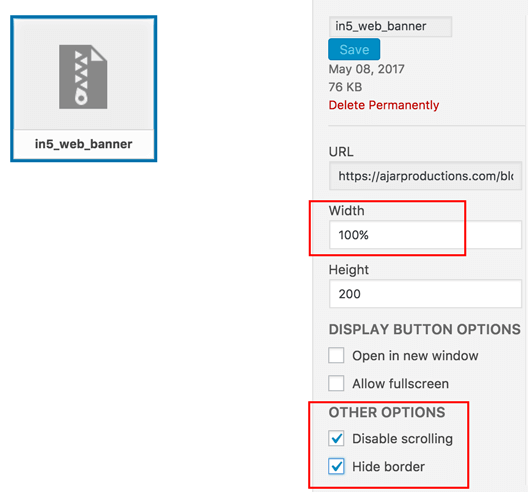 in5 embed WordPress plugin content settings