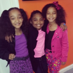 Picture of Aja, Jessica, and Madison   having fun while waiting for their audition for a feature film