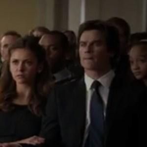 Sitting behind Vampire Diaries cast Nina and Ian