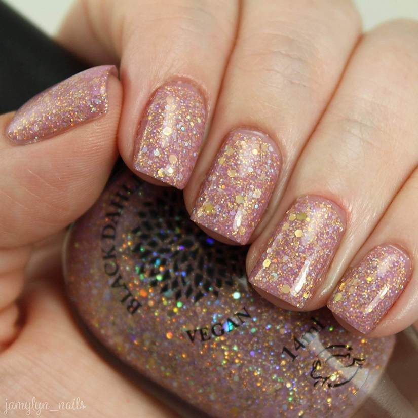 Pale Nail Art with Gold Shimmer