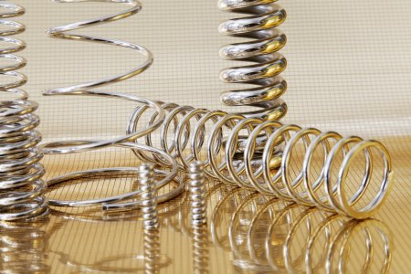 metal springs on reflective surface
