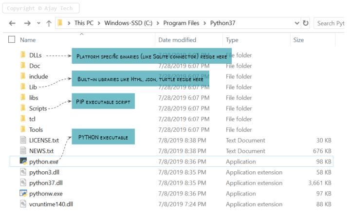 python installation directory structure