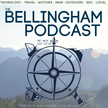 Bellingham Podcast cover art with logo of a compass rose and mountains in background