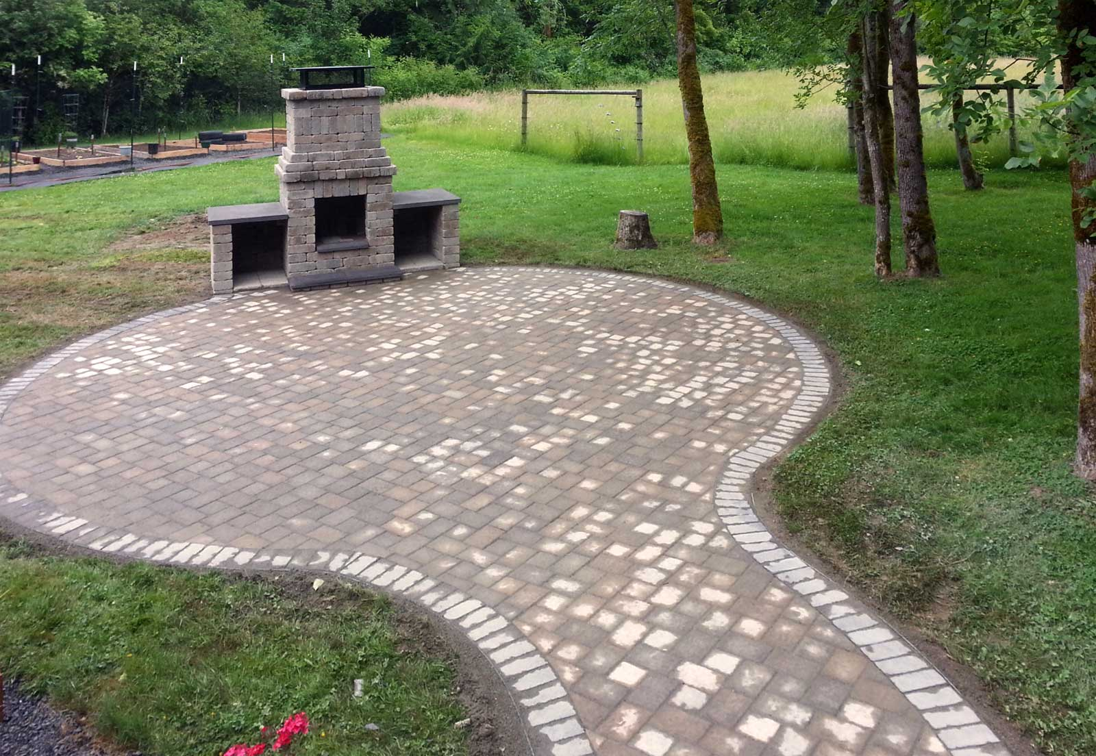 Chehalis Outdoor Fire Pit, Matching Paver Patio - AJB ... on Paver Patio Designs With Fire Pit id=37837