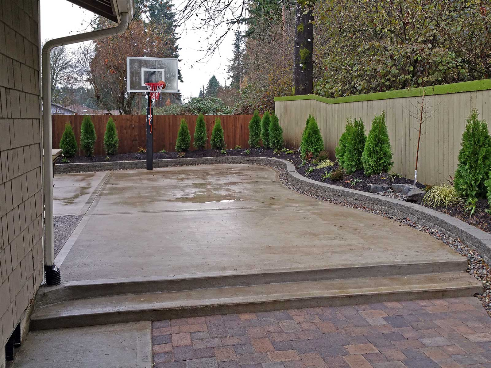 Southeast Olympia Backyard Entertainment Area & Kennel ... on Concrete Front Yard Ideas id=25455