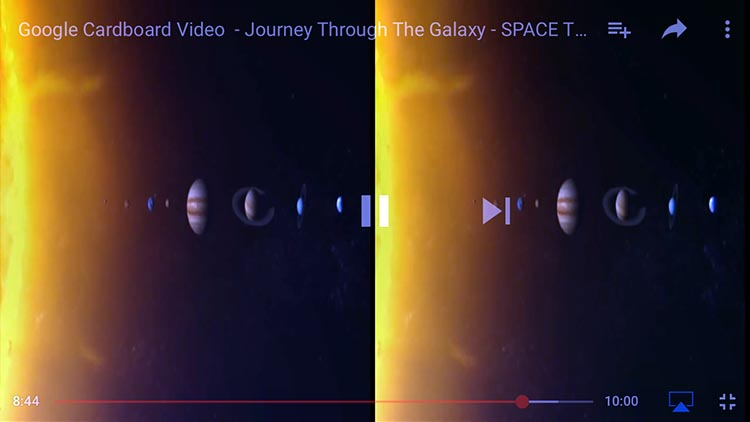 3D consists of projecting two different images to your two eyes, giving you a 3D perspective that includes depth. For example, this is what the Journey Through the Galaxy 3D video looks like when it's just on your phone. Pop your phone into your VR headset, and this odd view suddenly becomes a convincing 3D experience