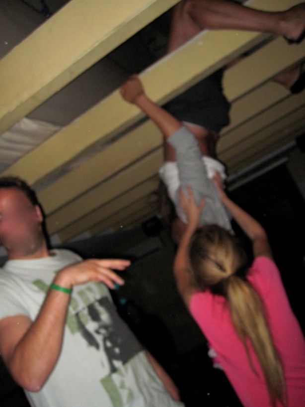 hoisting my buddy onto the rafters, last night of the summer, 4 am, Pink, Southampton, 2009
