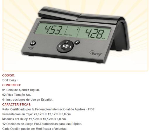 reloj dgt easy RELOJ DE AJEDREZ DIGITAL DGT EASY PLUS