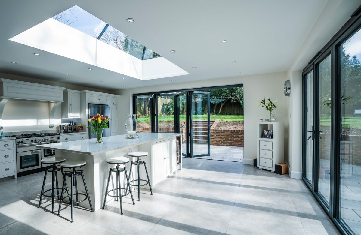 Bi-fold doors and lantern roof on a beautiful kitchen extension by AJ Hammond Builders in Bexhill On Sea, East Sussex