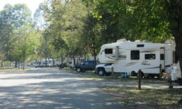 Campers back up to overlook of White River